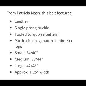 Patricia Nash Accessories - Patricia Nash Palosa Tooled M Leather Belt